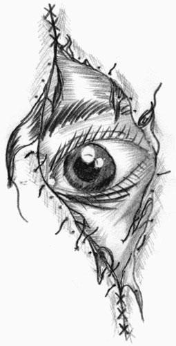 Black And White Stitched Eye Tattoo Design