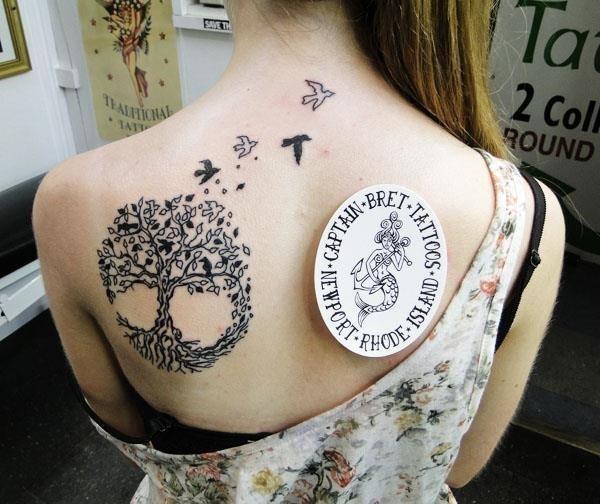 Black Celtic Tree Of Life With Flying Birds Tattoo On Girl Left Back Shoulder