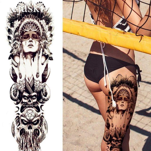 Black Indian Warrior Temporary Tattoo Men Full Legs Tattoo Stickers Women Large Body Arm Art Drawing