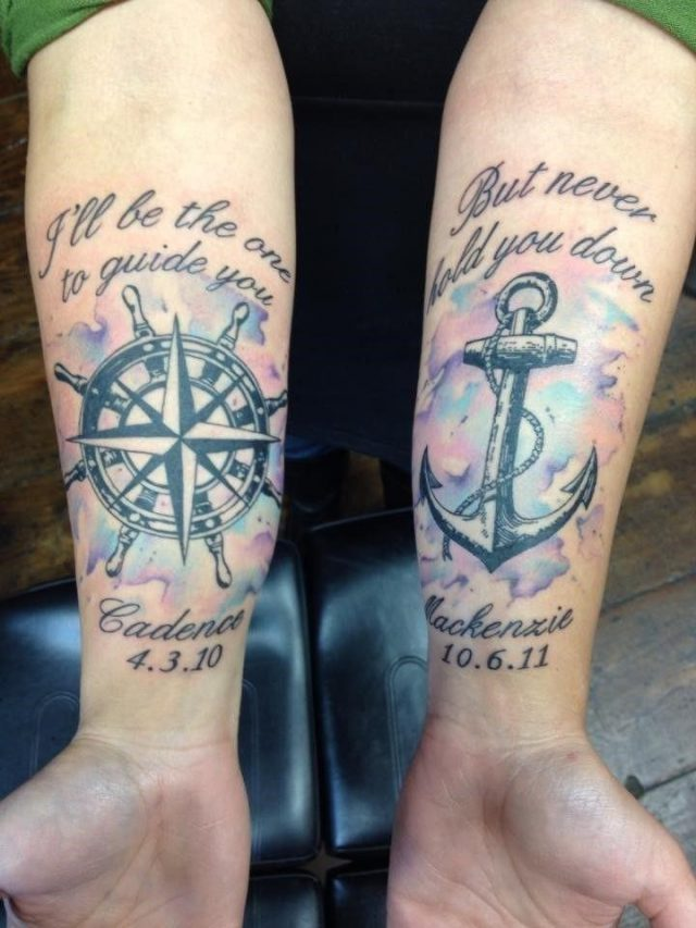 Black Ink Compass With Anchor Tattoo On Both Forearm