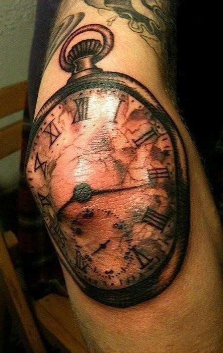 Black Ink Pocket Watch Tattoo On Elbow