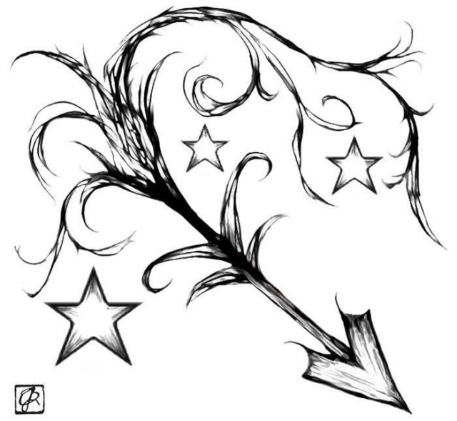 Black Ink Sagittarius Zodiac Sign With Stars Tattoo Design