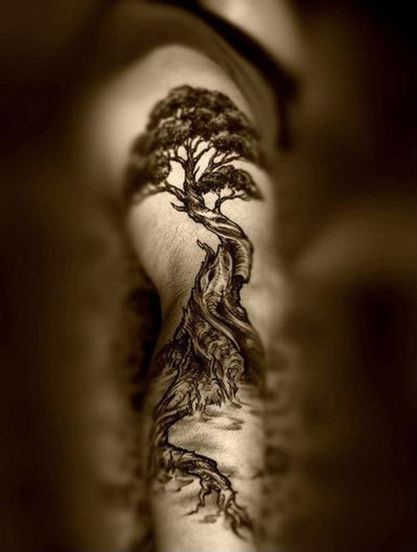 Black Ink Tree Of Life Tattoo Design For Full Sleeve By Frankwit