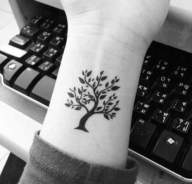 Black Ink Tree Of Life Tattoo On Girl Wrist