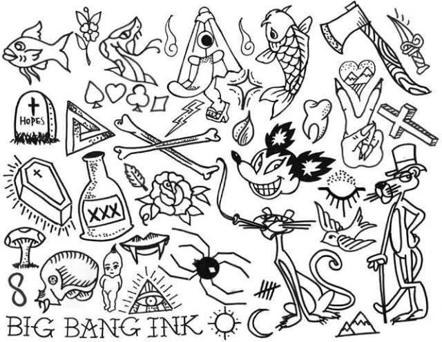 Black Outline Halloween Tattoo Flash