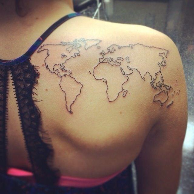 Black Outline World Map Tattoo On Right Back Shoulder