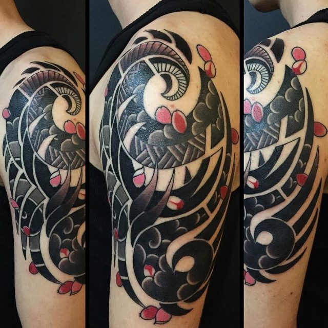 Black Red Cool Sleeve Tattoo