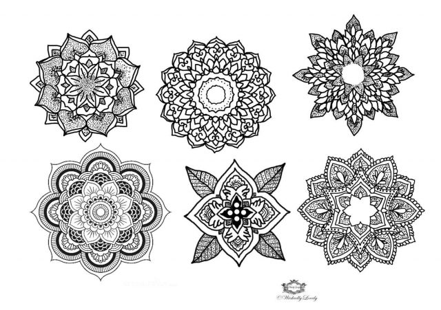 Black Six Mandala Tattoo Design