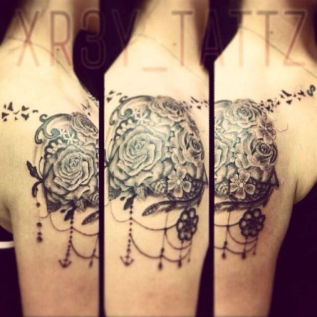Black Vintage Flower Tattoo st110