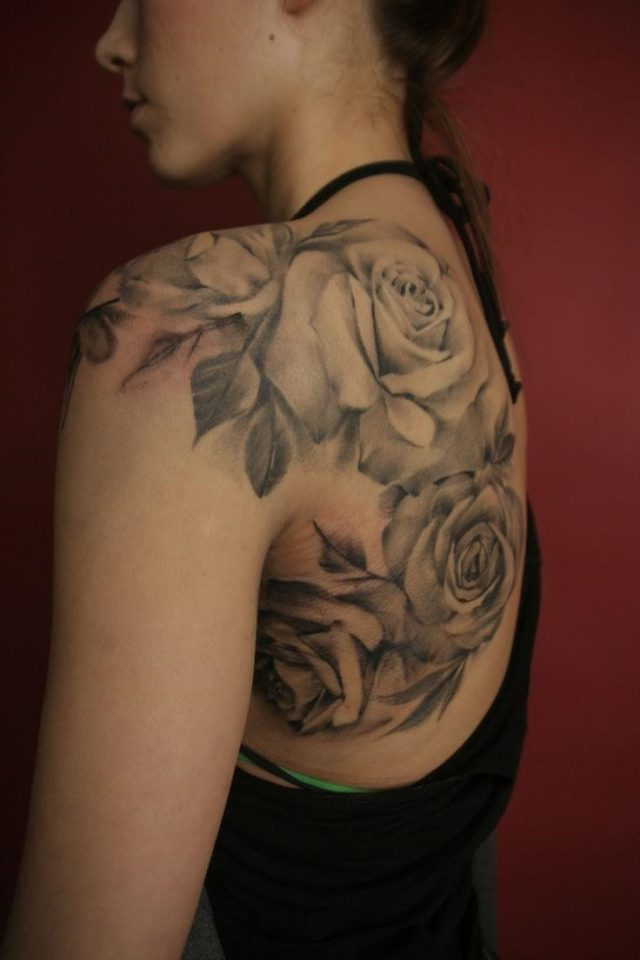 Black amazing shoulder tattoo