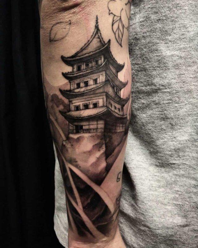 Black and Grey Pagoda Tattoo