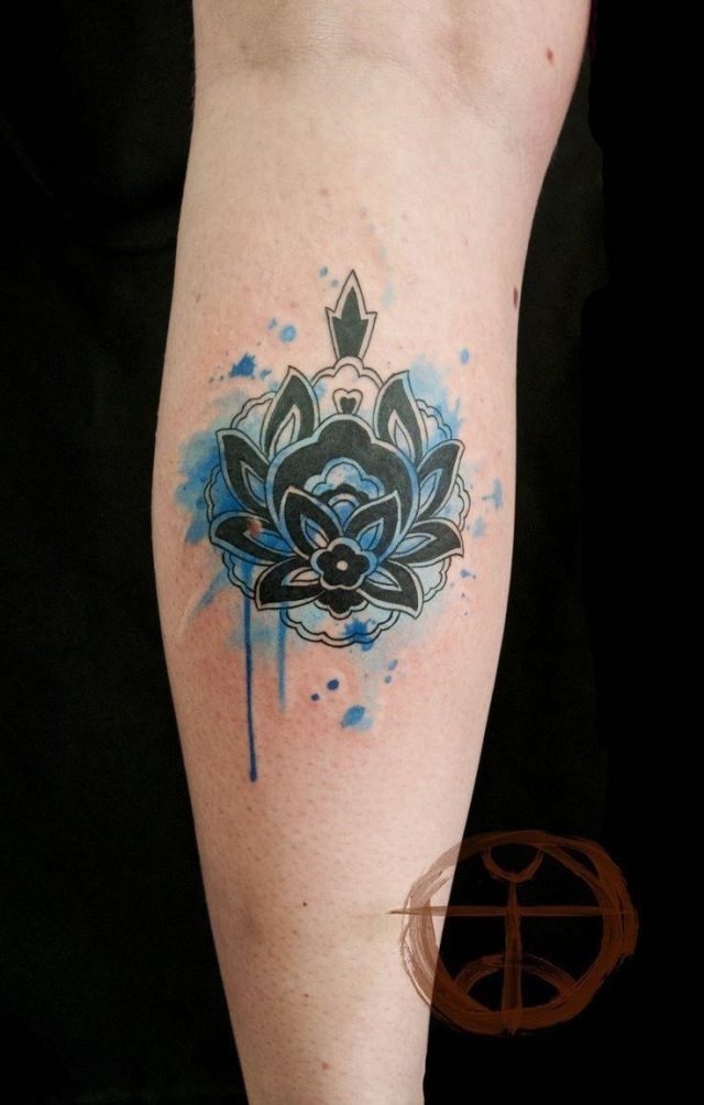 Black lovely watercolor tattoo