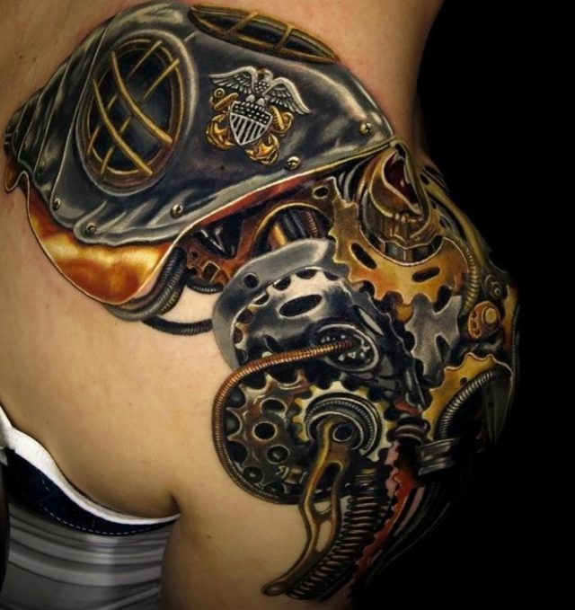 Brilliant Mechanical Colorful Tattoo On Right Upper Shoulder