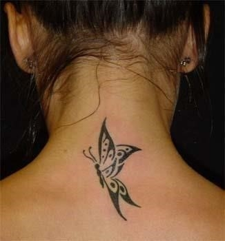 Butterfly tattoos on neck 3