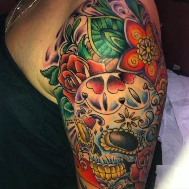 Candy Skull Sleeve Tattoo