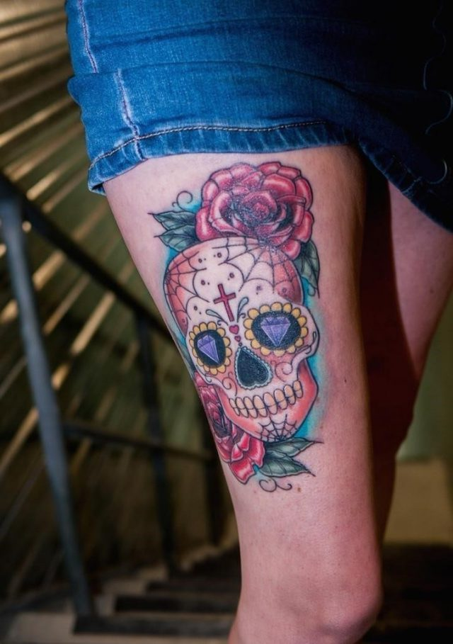 Candy Skull Tattoos on Thigh