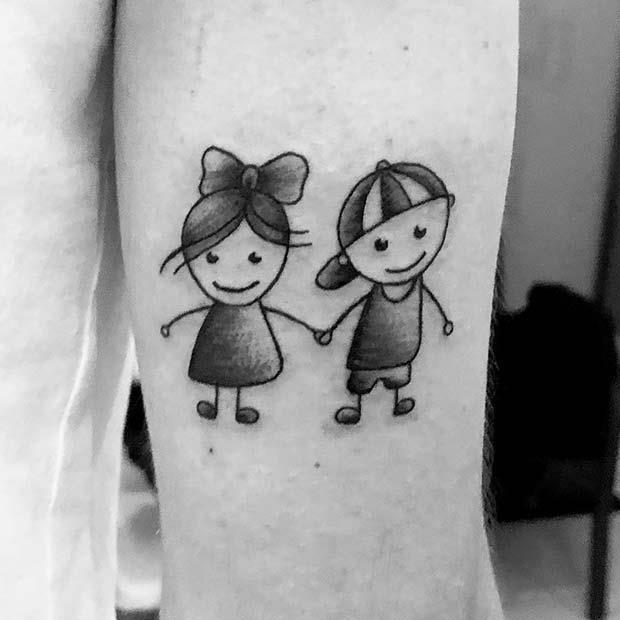 Cartoon Sibling Tattoo