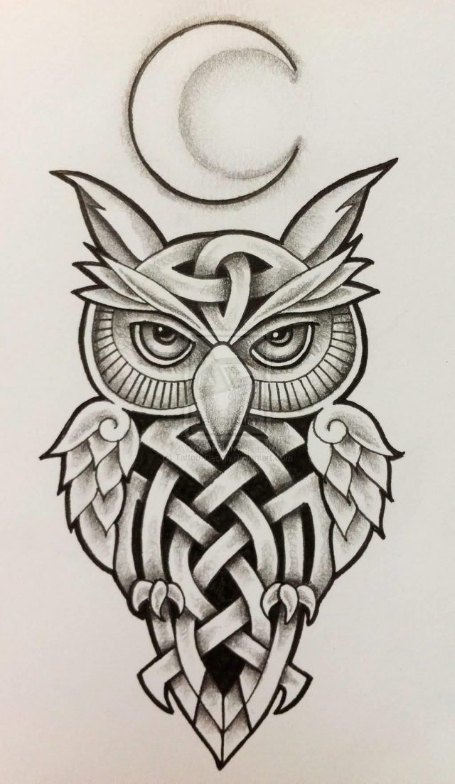 Celtic Moon Owl Tattoo Design