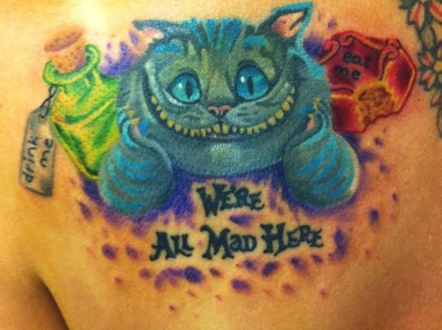 Cheshire Cat Tattoo On Back Shoulder by Creativecursekina