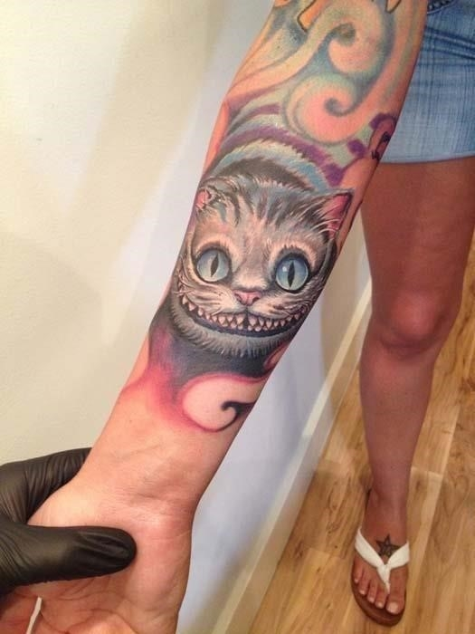 Cheshire Cat Tattoo On Right Forearm