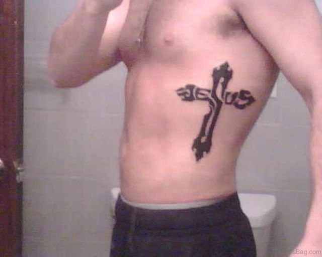 Christian Cross Tattoo On Rib Side