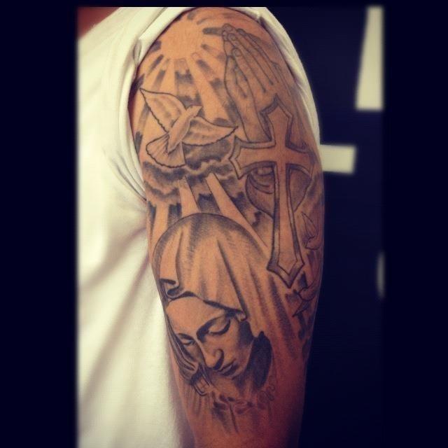 Christian Cross With Saint Mary And Flying Bird Tattoo On Half Sleeve
