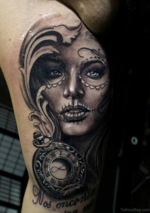 Clock And Portrait Tattoo