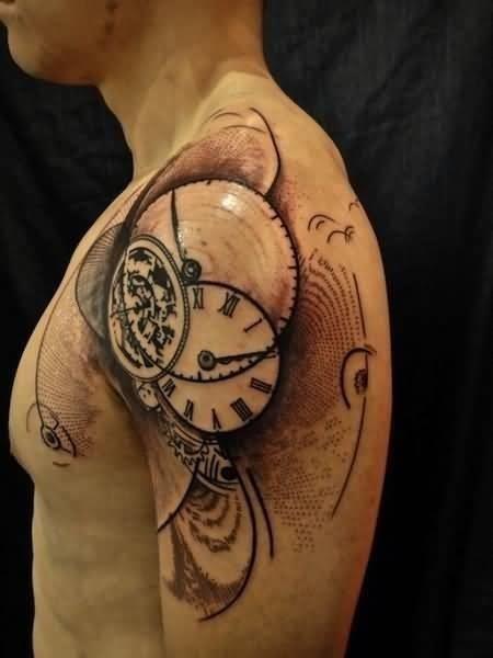 Clock Tattoo On Man Left Shoulder