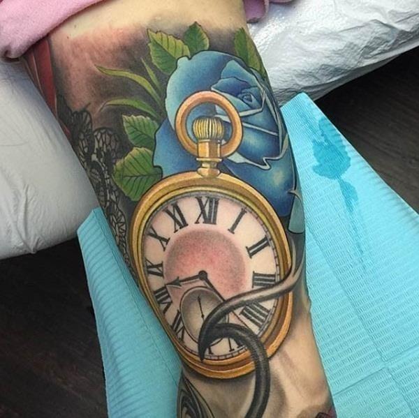 Clock Tattoos that Look Like Paintings