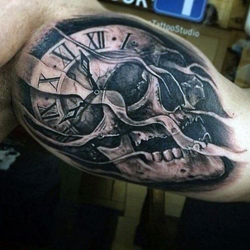 Clock and Skull Inner Bicep Tattoos For Men