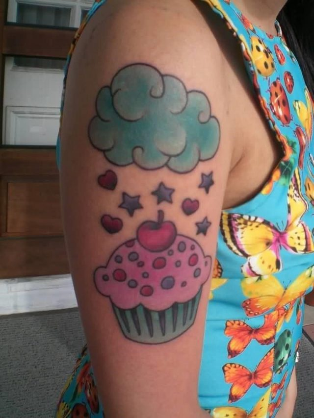 Clouds And Cupcake Tattoo On Girl Right Half Sleeve