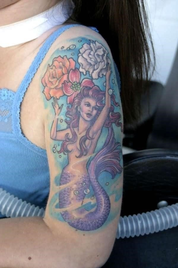 Color Ink Mermaid Tattoo On Left Half Sleeve