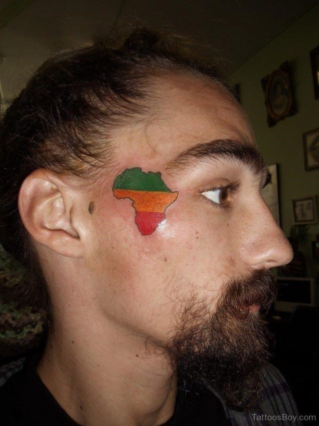 Colored African Map Tattoo TB113