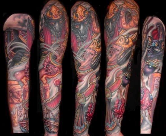 Colored Egyptian Tattoo On Full Sleeve