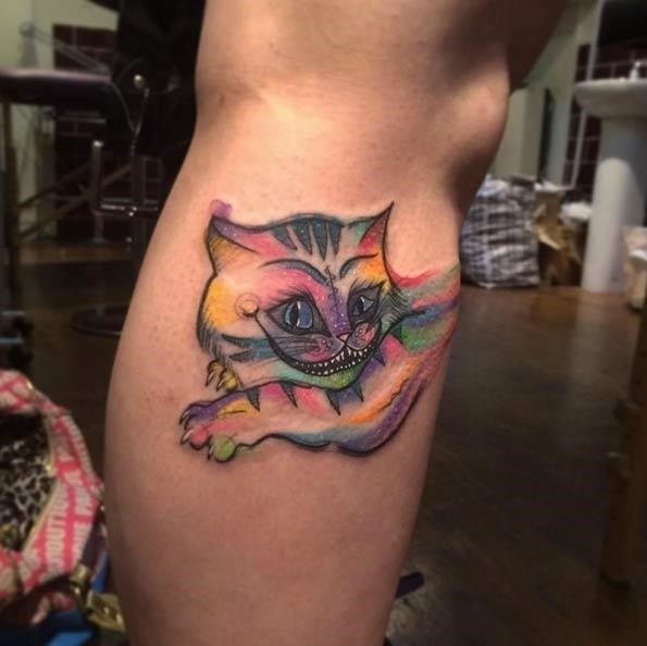 Colorful Alice in Wonderland Tattoo On Leg