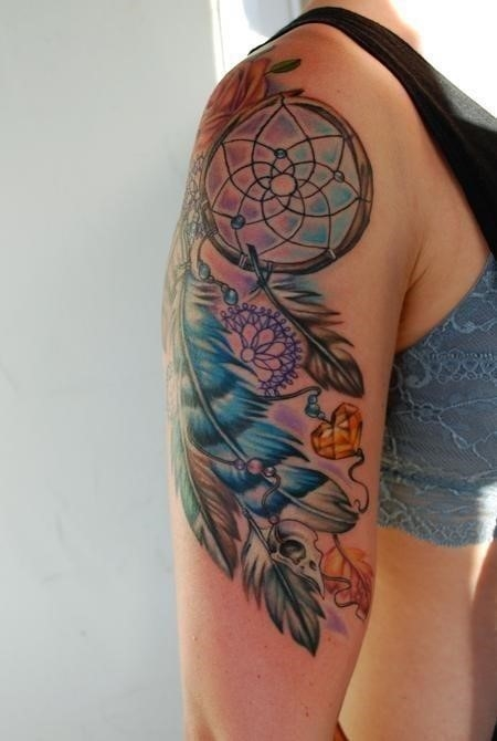 Colorful Dreamcatcher Tattoo On Girl Right Half Sleeve