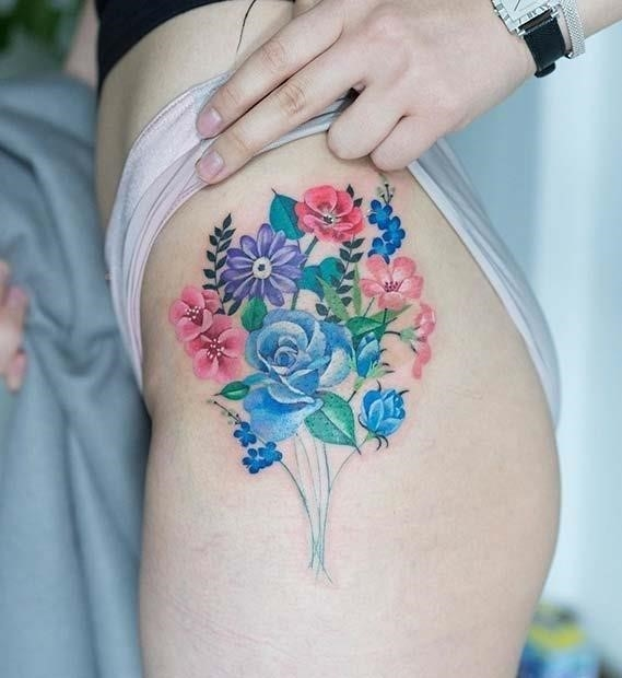 Colorful Floral Hip Tattoo