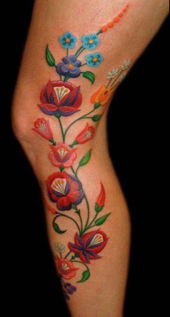 Colorful Flowers Tattoo On Full Leg