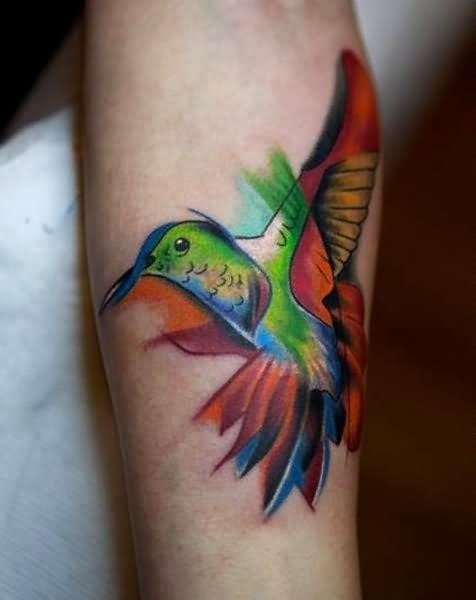Colorful Flying Hummingbird Tattoo On Arm Sleeve
