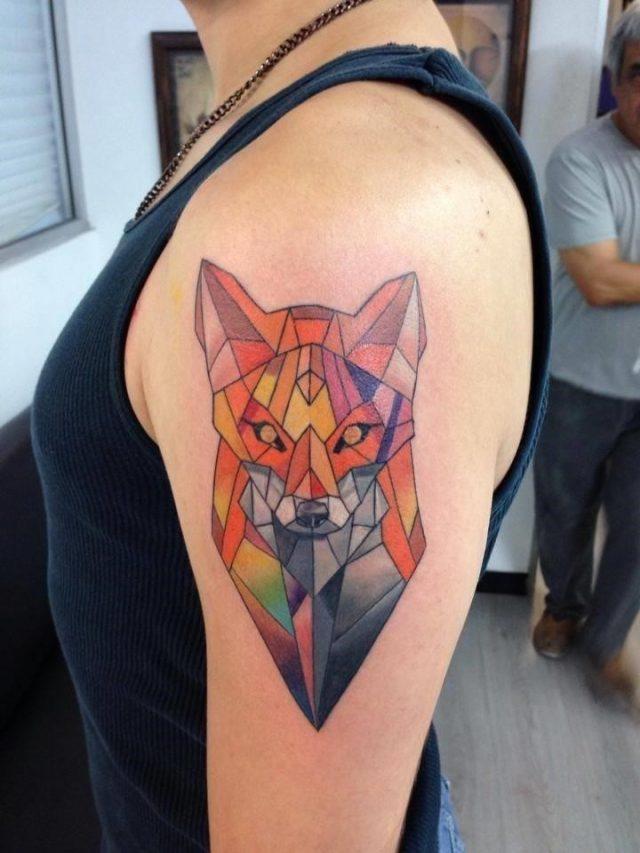 Colorful Geometric Fox Tattoo Design on Upper Hand