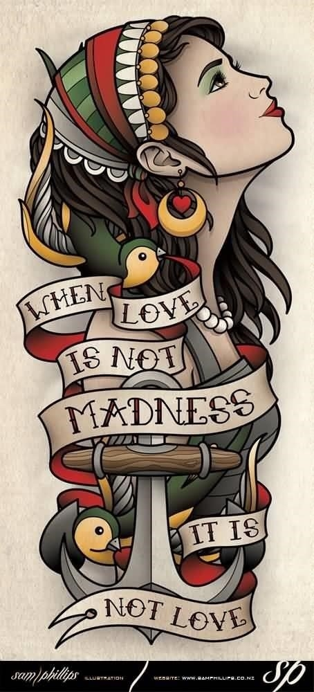 Colorful Gypsy With Quote Banner Old School Tattoo Design By Sam Phillips
