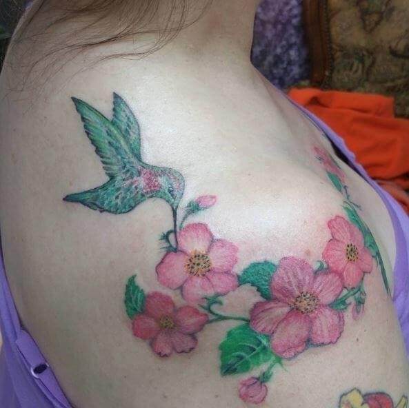 Colorful Hummingbird Tattoos on Shoulder