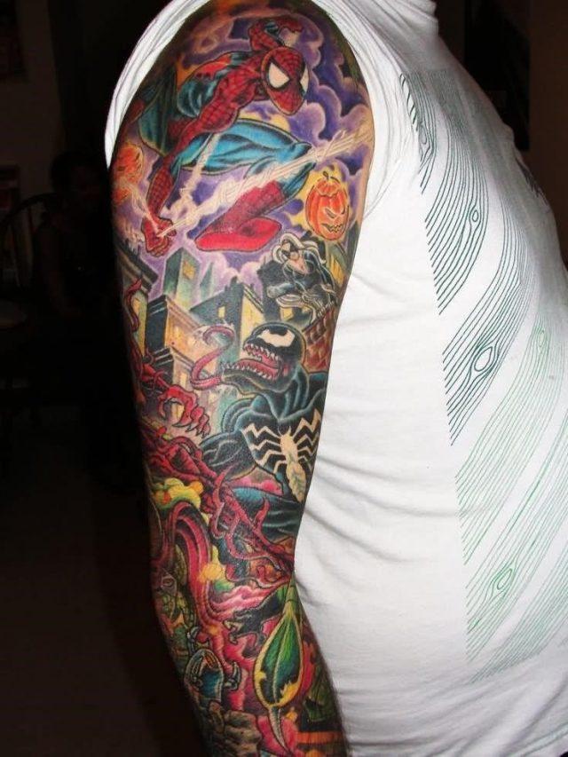 Colorful Spiderman Tattoo On Sleeve