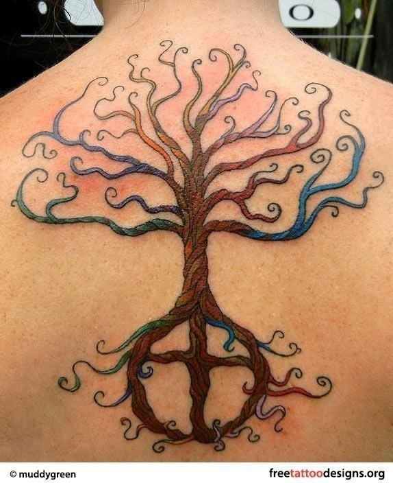 Colorful Tree Of Life Tattoo On Upper Back