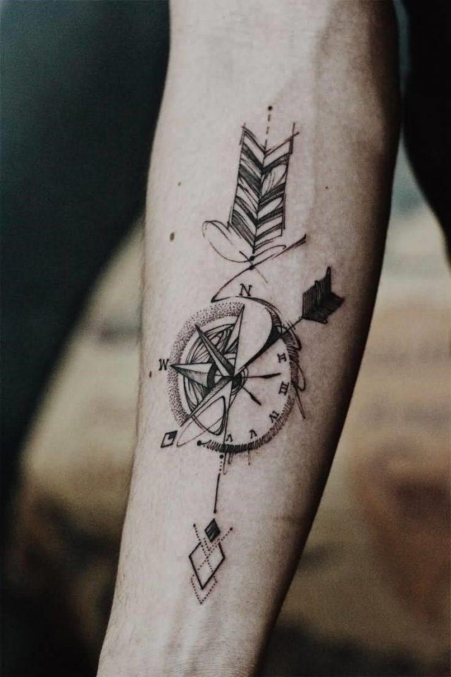 Compass Arrow Tattoo On Forearm
