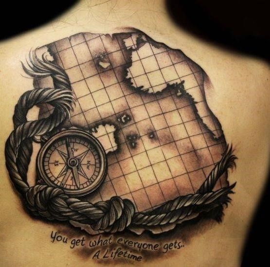Compass Rope And Map Tattoos On Back 1