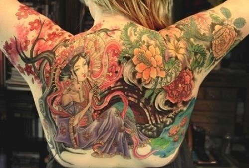 Cool Colorful Asian Girl With Flowers Tattoo On Women Full Back