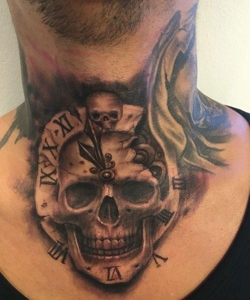 Cool Front Neck Tattoo Designs For Men