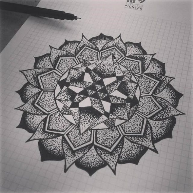 Cool Mandala Dotwork Tattoo Design