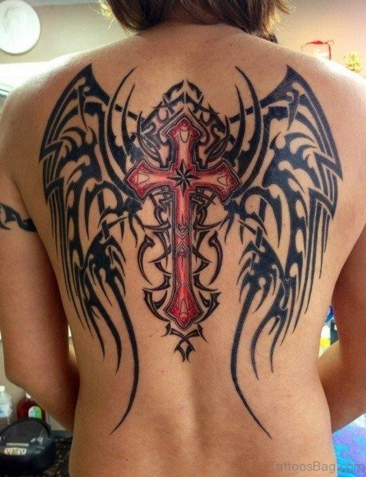 Cross And Angel Wings Tattoo On Back BT1060TB1062